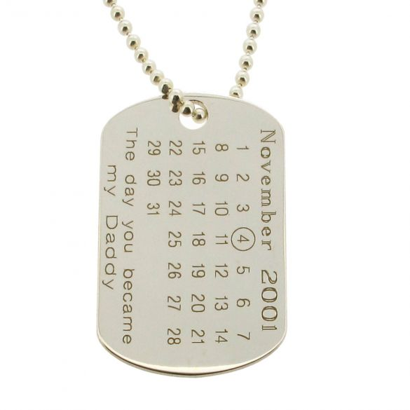 Sterling Silver Special Date Calendar & Photo Engraved Dog Tag With Optional Engraving