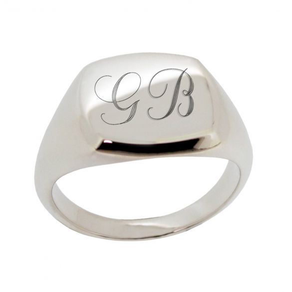 Sterling Silver Signet Ring with Engraved Initials