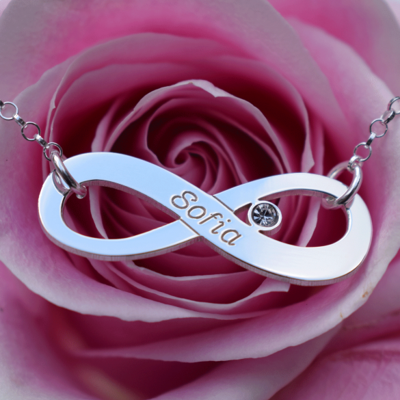 Sterling Silver Infinity Necklace With Swarovski Crystal