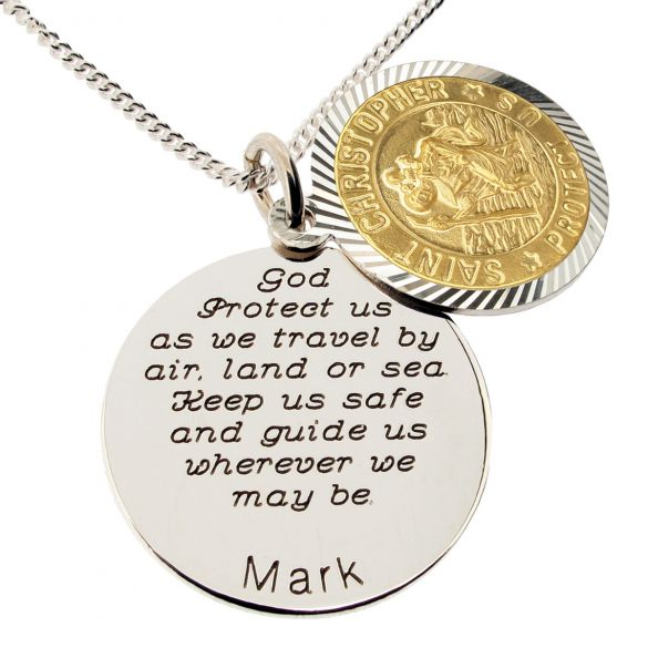 Yellow Gold Plated & Sterling Silver Personalized Round St Christopher With Travelers Prayer