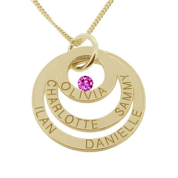 18k Yellow Gold Plated Triple Disc Personalized Family Necklace With Swarovski Crystal