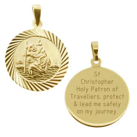 18k Yellow Gold Plated 20mm Diamond Cut St Christopher Pendant With Travelers Prayer and Optional Chain