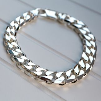 Sterling Silver Mens 2oz Chunky Curb Link Bracelet
