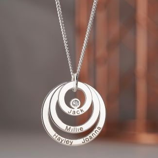 Sterling Silver Engraved Triple Disc Personalised Family Necklace With Diamond