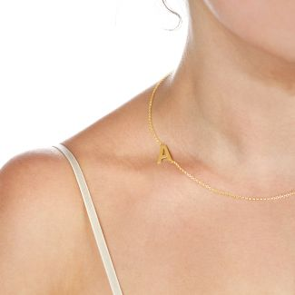 18k Yellow Gold Plated Side Initial Necklace