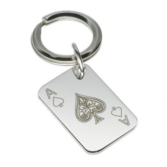 Sterling Silver Ace Of Spades Poker Card Keyring With Optional Engraving