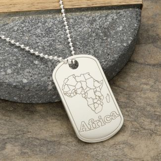 Sterling Silver Large Africa Dog Tag With Optional Engraving