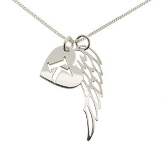 Sterling Silver Heart Initial & Angel Wing Pendant With Chain