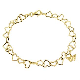 9ct Yellow Gold Plated Light Heart CharmBraceletWith Butterfly Charm