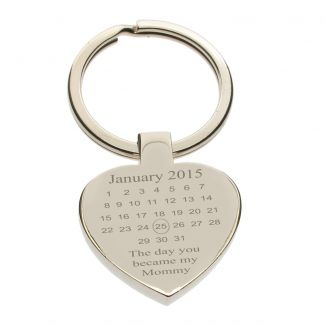 Mirror Polished Special Date Heart Keychain