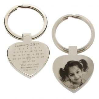 Mirror Polished Special Date Calendar & Photo Engraved Heart Keychain
