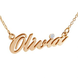 9ct Rose Gold Plated Carrie Style Personalised Name Necklace With Diamond