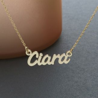 Yellow Gold Plated Challenge Style Personalized Name Necklace