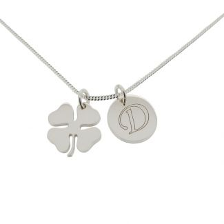 Sterling Silver Lucky Clover and Engraved Initial Pendants With Chain