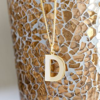 18k Yellow Gold Plated Block Initial Pendant