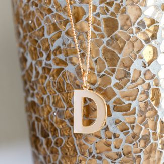 18k Rose Gold Plated Block Initial Pendant