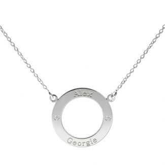 Sterling Silver Personalised Ring Pendant With Crystal