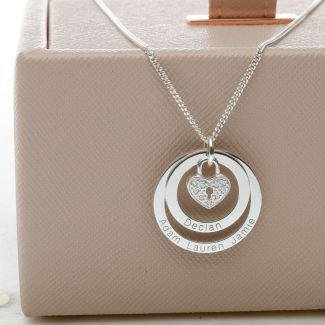 Sterling Silver Personalised Family Double Disc Pendant With CZ Heart Locket & Chain