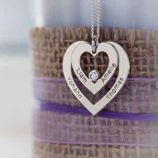 Sterling Silver Double Heart Personalized Necklace With Swarovski Crystal