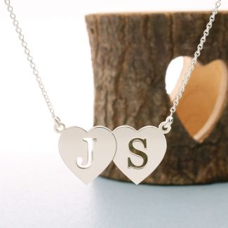 Sterling Silver Double Heart Cut Out Initial Pendant