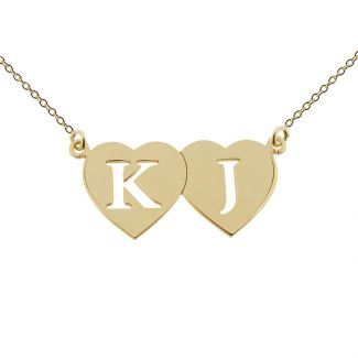 18k Yellow Gold Plated Double Heart Cut Out Initial Pendant