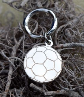 Sterling Silver Round Engraved Soccer Keychain