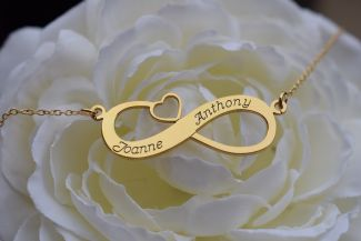18k Yellow Gold Plated Infinity With Heart Necklace
