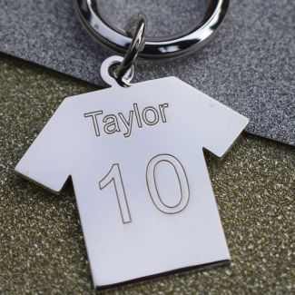 Sterling Silver Engraved Soccer Shirt Keychain