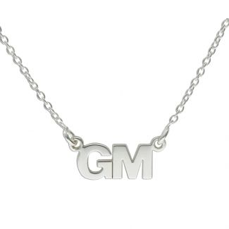 Sterling Silver Block Style Double Initial Pendant
