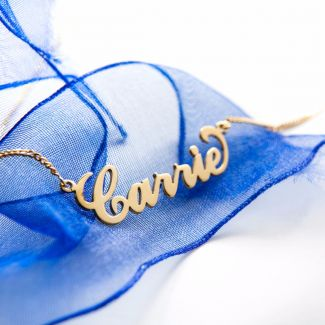 18k Yellow Gold Plated Carrie Style Personalized Name Necklace with Curl