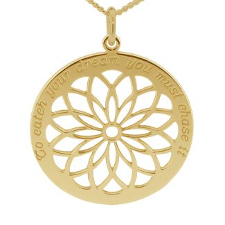 18k Yellow Gold Plated Dream Catcher Necklace