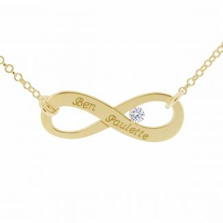18k Yellow Gold Plated Infinity Necklace With Swarovski Crystal