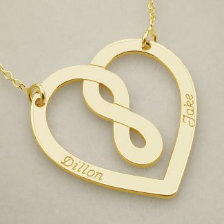 18k Yellow Gold Plated Heart Infinity Necklace