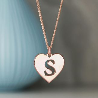18k Rose Gold Plated Initial Heart Pendant
