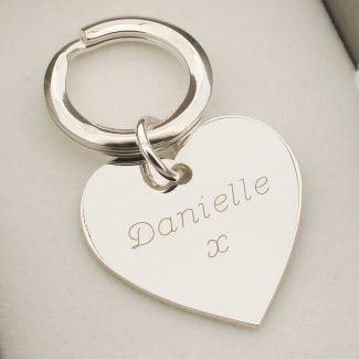 Sterling Silver Engraved Heart Keychain