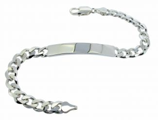 Sterling Silver 30 Gram Mens Heavy Curb ID Bracelet With Optional Engraving