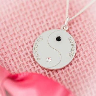 Sterling Silver Engraved Ying Yang Pendant