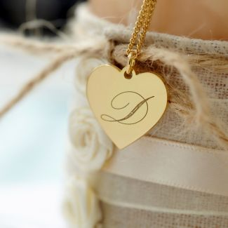 9ct Yellow Gold Plated Engraved Initial Heart Pendant