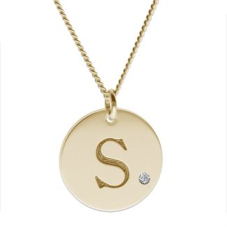 9ct Yellow Gold Plated Engraved Initial Disc With Crystal Or Real Diamond