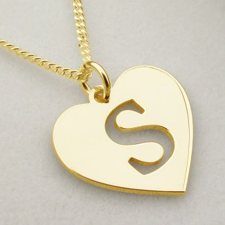 18k Yellow Gold Plated Initial Heart Pendant