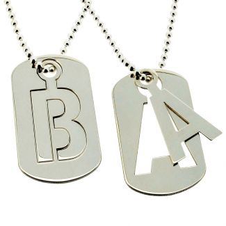 Sterling Silver Cut Out Initial Dog Tag