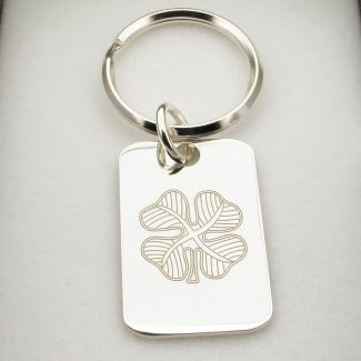 Sterling Silver Four Leaf Clover Keychain With Optional Engraving