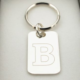 Sterling Silver Initial Keychain With Optional Engraving