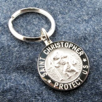Sterling Silver 24mm 3D St Christopher Keychain With Optional Engraving