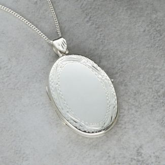 Sterling Silver Large Oval Patterned Locket With Optional Engraving