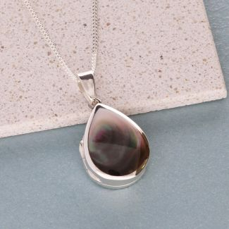 Sterling Silver Tear Drop Black Mother Of Pearl Locket With Optional Engraving & Chain