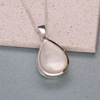 Sterling Silver Tear Drop White Mother Of Pearl Locket With Optional Engraving & Chain