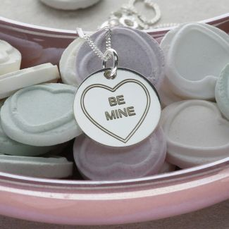 Sterling Silver Personalized Love Heart Disc Pendant With Chain & Optional Back Engraving
