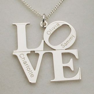 Sterling Silver LOVE Pendant With Optional Personalisation