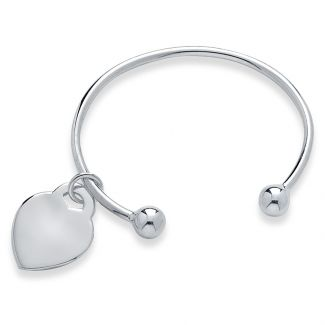 Sterling Silver Baby and Small Child Torque Bangle With Heart Charm & Optional Engraving